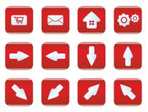 Web and internet icon set. Red color Stock Images