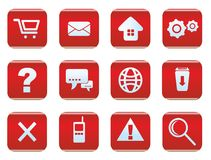 Web and internet icon set. Red color Royalty Free Stock Images