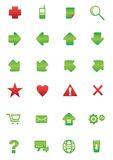Web and internet icon set. Red and green color Stock Photos