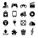 Web internet icons set -. Modern application website black icons with shadows Stock Images