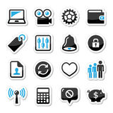 Web internet icons set -. Application website black and blue labels set isolated on white Stock Photos