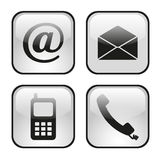 Web and internet icons set. Contact buttons set - email, envelope, phone, mobile icons Stock Photos