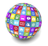 Web And Internet Social Media Globe. Web and Internet social media and social network concept with technology icons and symbol on a colorful globe on white Stock Images