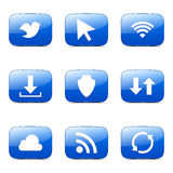 Web Internet Social Square Vector Blue Icon Stock Photo