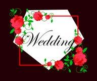 web Invitación o invitación de boda con el fondo floral abstracto Modelo de la elegancia con las flores Tarjeta de felicitación a stock de ilustración