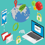 Web isometric online safety data protection secure Stock Photography
