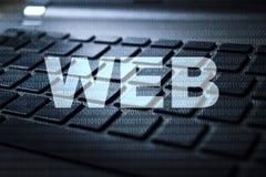 Web keyword on keyboard. Web keyword concept on computer keyboard technology background macro shot stock illustration