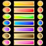 Web knöpft verschiedene Farben mit Goldfelgen Stockfotos