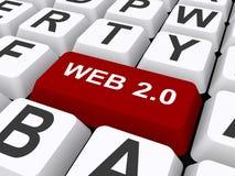 Web 2.0 knoop op toetsenbord Royalty-vrije Stock Foto's