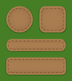 Web labels. Blank label set made of brown leather. Vector illustration royalty free illustration