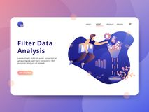 Web. Landing Page Filter Data Analysis, a modern illustration style concept, can be used for landing pages, web, ui, banners, templates, backgrounds, posters royalty free illustration