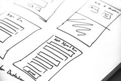 Web layout sketch paper Book, mobile and web sketch. Web layout sketch paper Book, mobile web sketch royalty free stock photo