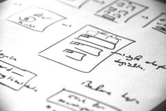 Web layout sketch paper Book, mobile and web sketch. Web layout sketch paper Book, mobile web sketch Royalty Free Stock Image
