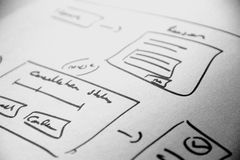 Web layout sketch paper Book, mobile and web sketch. Web layout sketch paper Book, mobile web sketch Stock Images