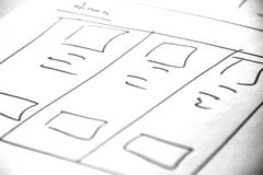 Web layout sketch paper Book, mobile and web sketch. Web layout sketch paper Book, mobile web sketch Stock Photo