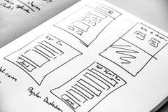 Web layout sketch paper Book, mobile and web sketch. Web layout sketch paper Book, mobile web sketch royalty free stock images