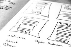 Web layout sketch paper Book, mobile and web sketch. Web layout sketch paper Book, mobile web sketch Stock Photos