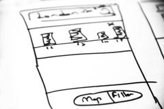 Web layout sketch paper Book, mobile and web sketch. Web layout sketch paper, mobile and web sketch Stock Photos