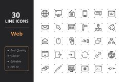 30 Web Line Icons. High quality web line icons. Icons for user interfaces and web Stock Photo
