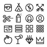 Web line icons, Website navigation flat design icon collection - users, blog, store Royalty Free Stock Photos