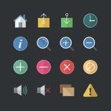 Web lisa do estilo da cor & ícones móveis da aplicação ajustados ilustração stock