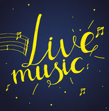 Web. Live music lettering composition on dark background. Design template for concert poster, web banners ad, party invitation, article Royalty Free Stock Images