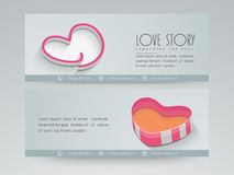 Web love header design. Love story website header or banner set with heart design Stock Image