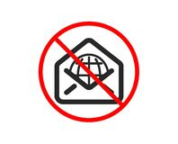 Web Mail icon. Message correspondence sign. Vector. No or Stop. Web Mail icon. Message correspondence sign. E-mail symbol. Prohibited ban stop symbol. No web royalty free illustration