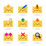 Web mail icons. Vector illustration of different web mail icons, features favorite mail, write, delete, alert, virus, download, send, search, forward and attach Stock Photography