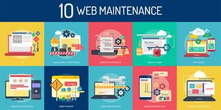 Web Maintenance Conceptual Design. Set of great flat design illustration concepts for web, maintenance, internet, network and much more Royalty Free Stock Images