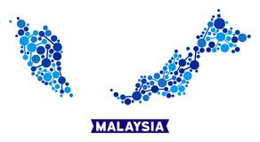 Malaysia Map Links Mosaic. Web Malaysia map collage. Abstract geographic scheme of connections in blue color tinges. Vector Malaysia map is done of network vector illustration