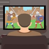 Web. Man sitting in front of video game or movie on historical subject - vector cartoon illustration of past idealization Royalty Free Stock Photos