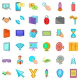 Web management icons set, cartoon style Stock Photography