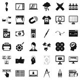 Web management icons set, simple style Stock Photography