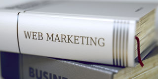 Web Marketing Concept op Boektitel 3d Stock Fotografie