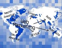 Web Marketing Indicates Selling Website And Advertising Stock Photo