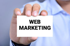 WEB MARKETING message on the card Stock Photography