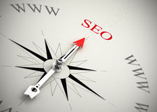 Web Marketing, SEO. Compass with arrow pointing to SEO, 3D render with blur effect suitable for search engine optimization purpose Royalty Free Stock Images