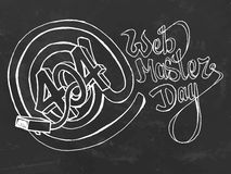 Web master day postcard. Chalk board hand drawn stock illustration royalty free illustration