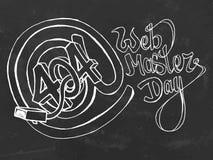 Web master day postcard. Chalk board hand drawn  stock illustration Royalty Free Stock Photo