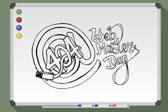 Web master day postcard. On whiteboard. Hand drawn  stock illustration Royalty Free Stock Images