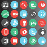 Web, media flat icons set 25 Royalty Free Stock Images