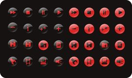 WEB AND MEDIA ICON SET. Glossy icon set for media, player and web use Royalty Free Stock Photo