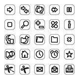 Web and media icon set. A set of common used web button Stock Photos