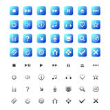 Web and media icons. ( illustration) in color blue and black Stock Photos