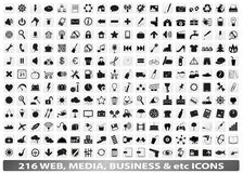 216 web, media, social, business icons / buttons Stock Images