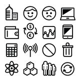Web menu internet line, stroke icons set - tech, application Stock Photos