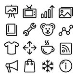 Web menu navigation line icons set - photo gallery, online store Stock Photos