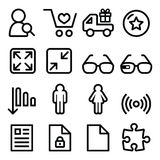 Web menu navigation line icons set - shopping, document Royalty Free Stock Images