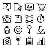 Web menu navigation line icons set - stroke style. Vector technology black icons set isolated on white Stock Photo